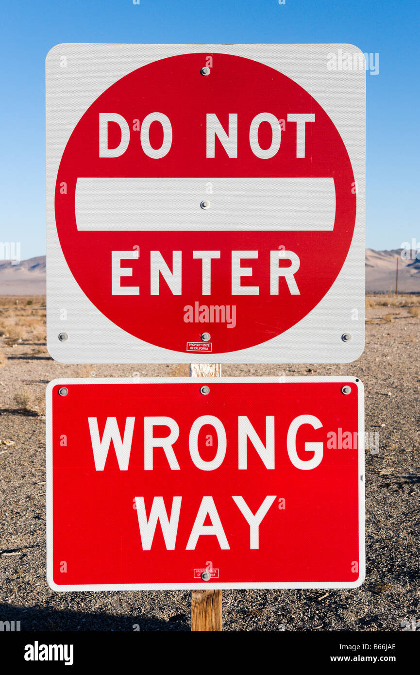 DoNot Enter / Wrong Way sign on I15 in the Mojave Desert, California - Stock Image
