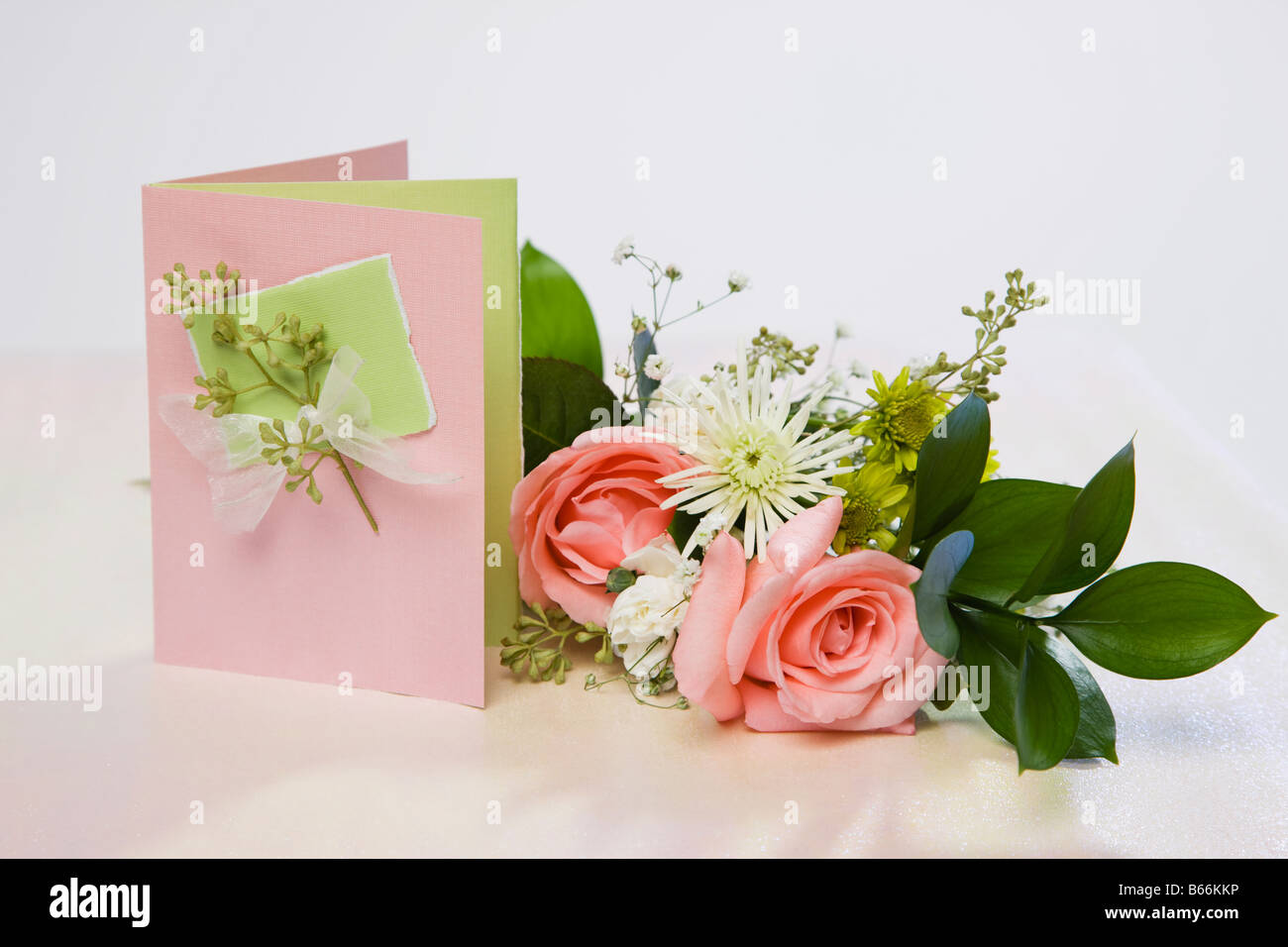 Flowers and greeting card - Stock Image