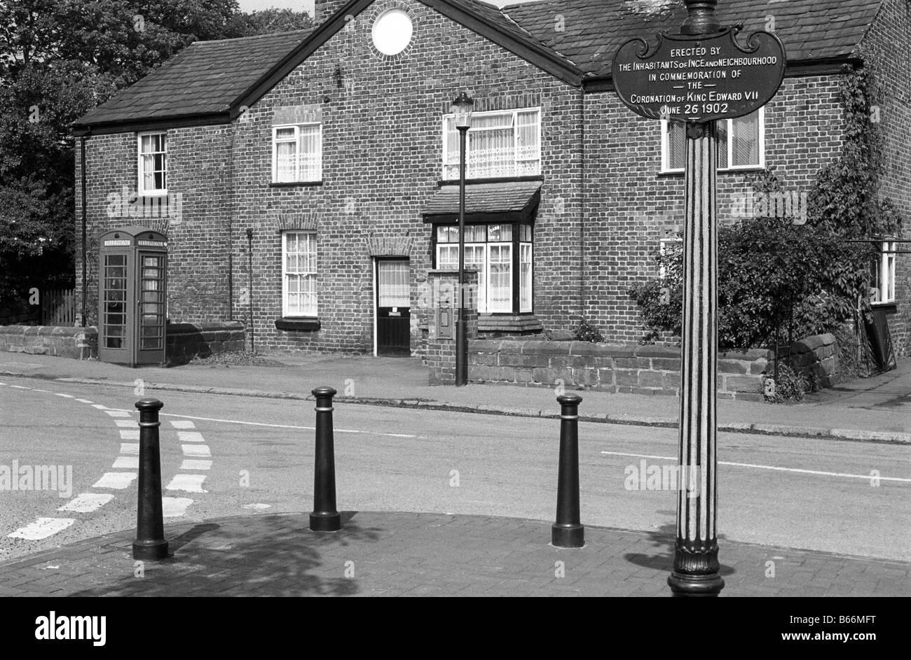 UK England Cheshire Ince Edward VII coronation memorial and village k6 phone box - Stock Image