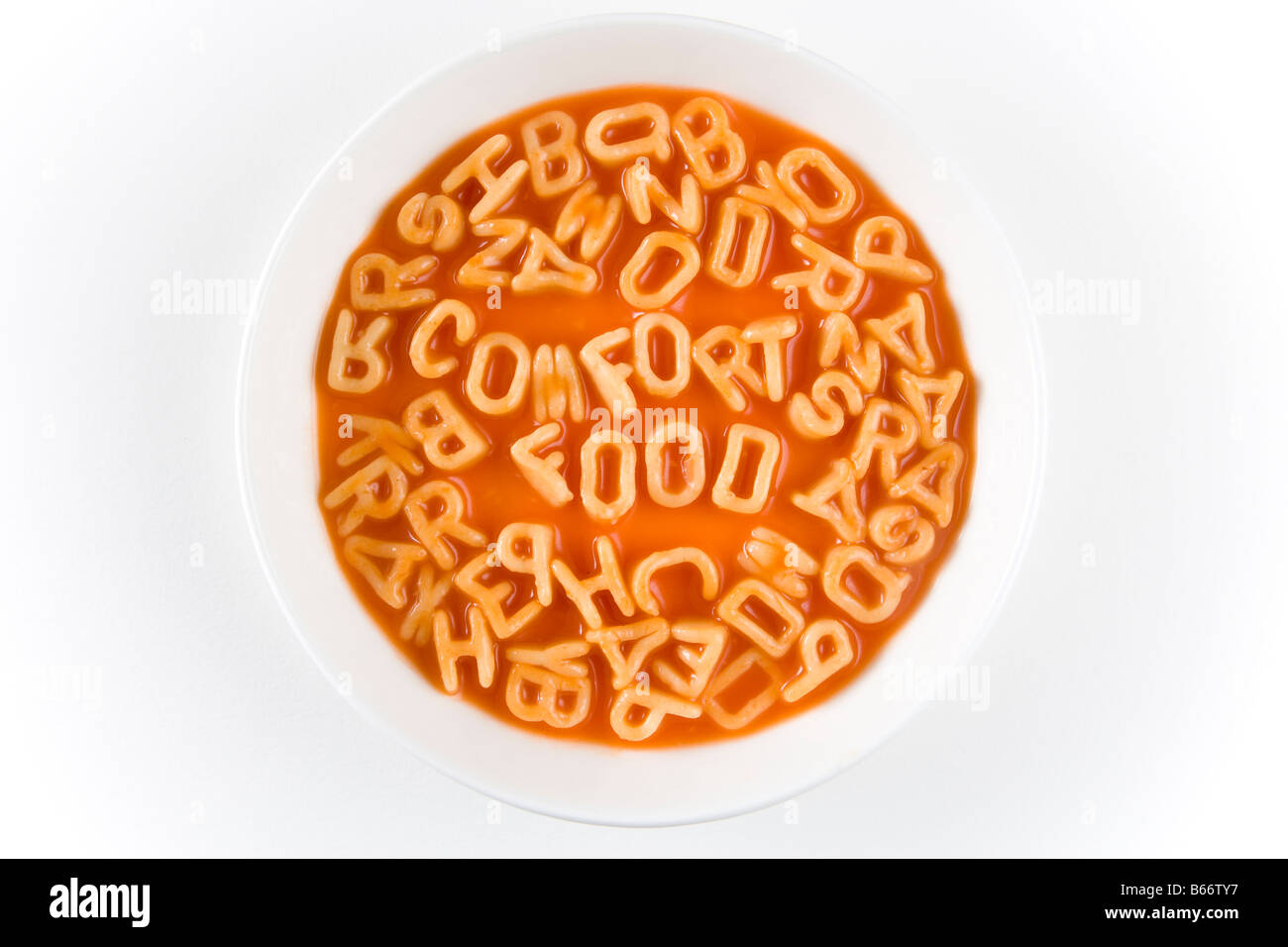 Spaghetti letters spelling out the words fort food in a white
