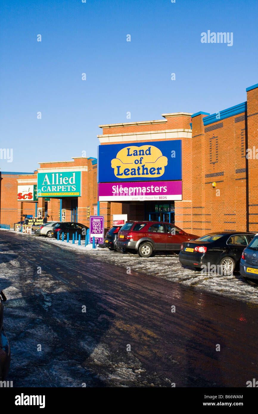 Land of Leather, Allied carpets, SCS retail park, out of town shopping Stock Photo