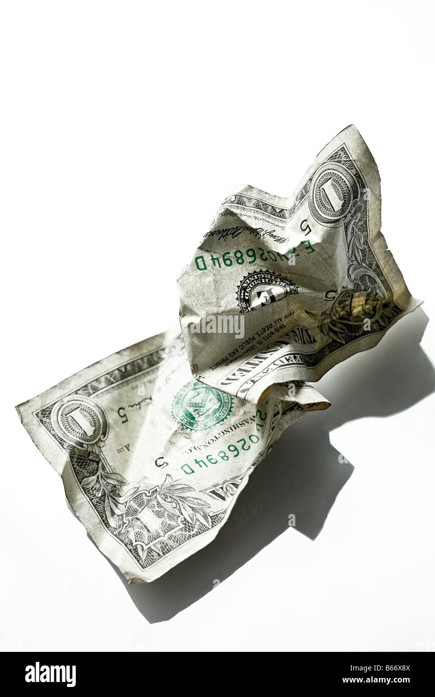 Crumpled banknote - Stock Image