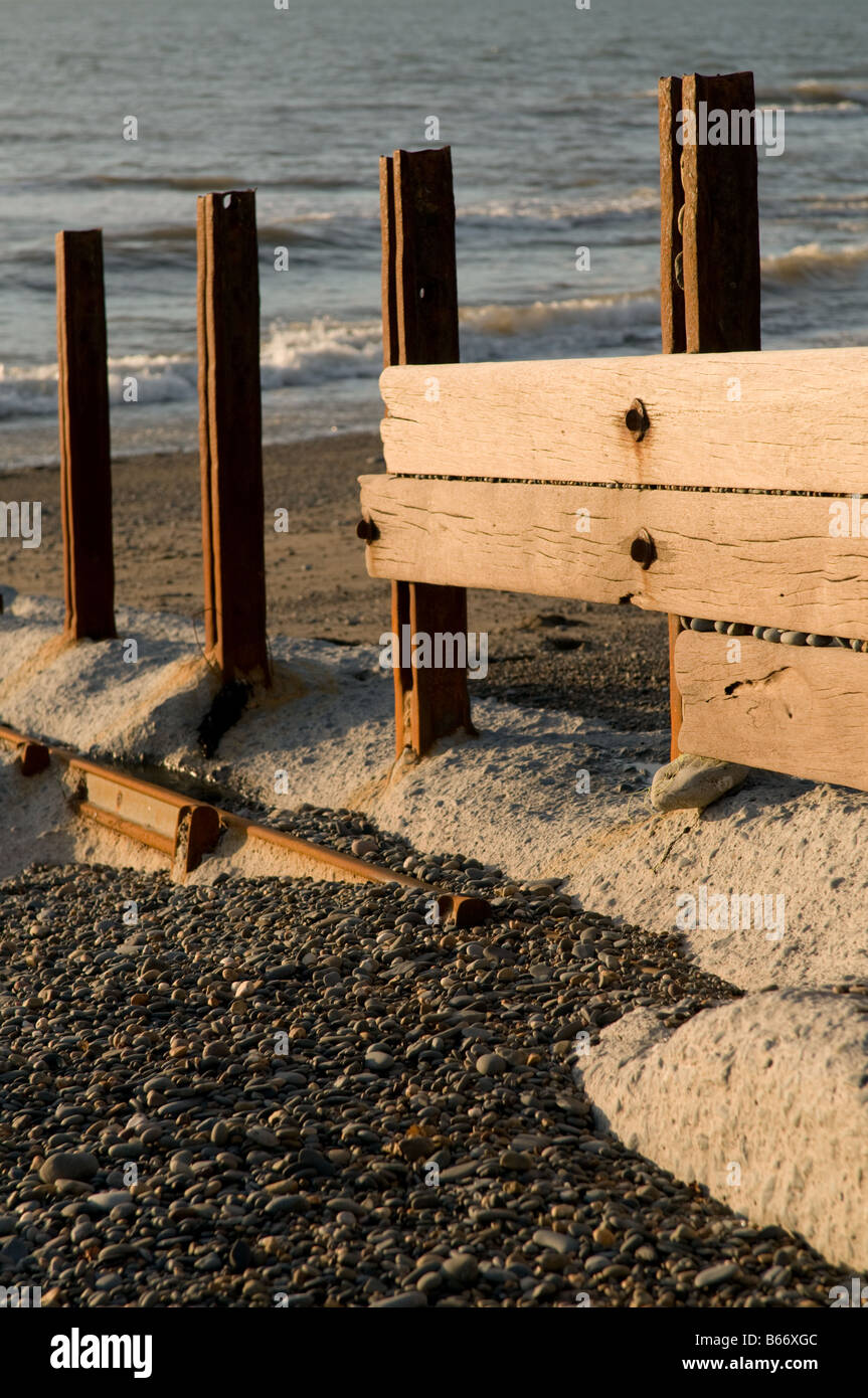 heavily eroded and storm damaged sea defences on Aberystwyth beach Wales UK in need of repair or replacement Stock Photo