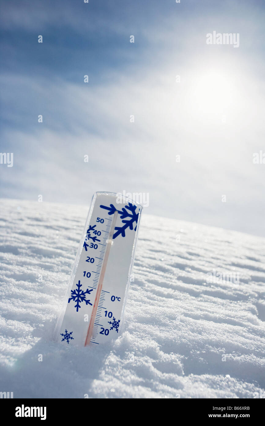 Thermometer in the snow - Stock Image