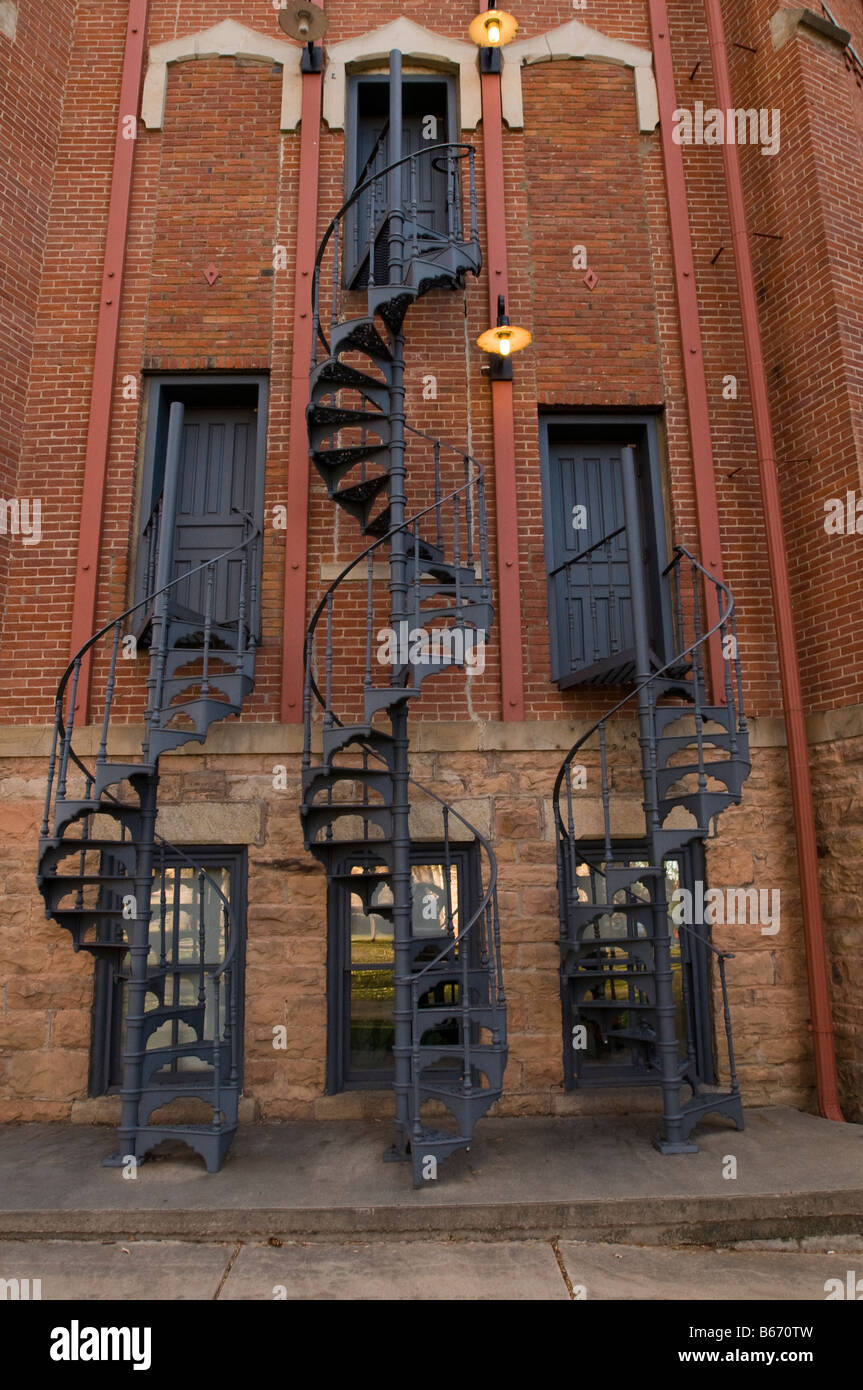3 Spiral stair cases on the CU Boulder campus Stock Photo