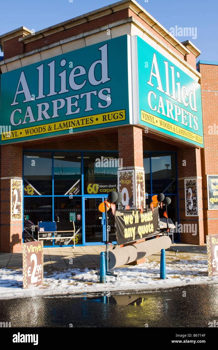 allied carpets on retail park out of town shopping Stock Photo