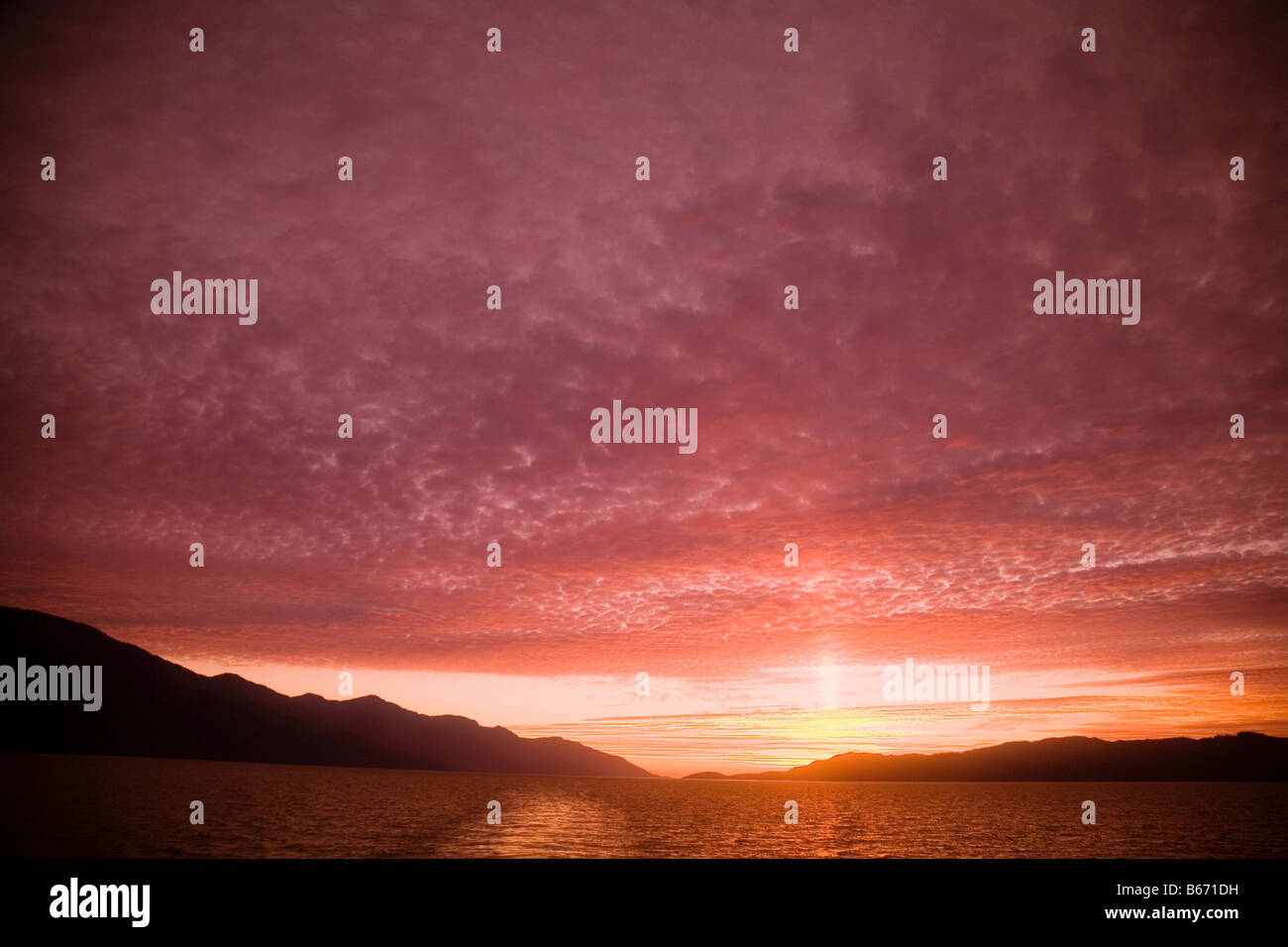 Sunset at inside passage - Stock Image