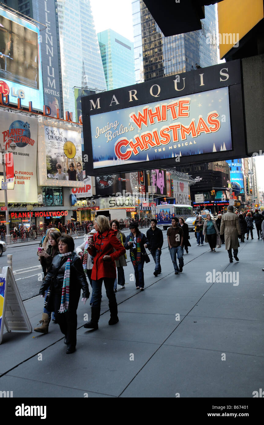 Christmas musical production sign outside the Marquis Theater Broadway New York America USA Irving Berlins White Stock Photo