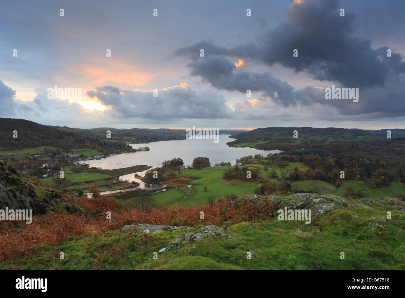 Ariel view of Lake Windermere from Todd crag above waterhead, Lake District England, UK - Stock Image