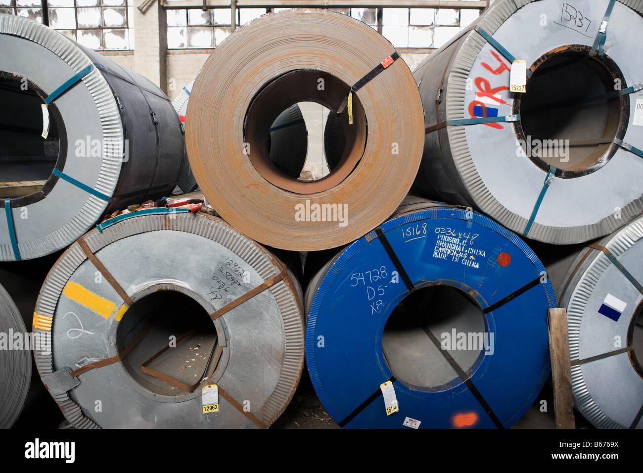 Rolls of sheet steel - Stock Image