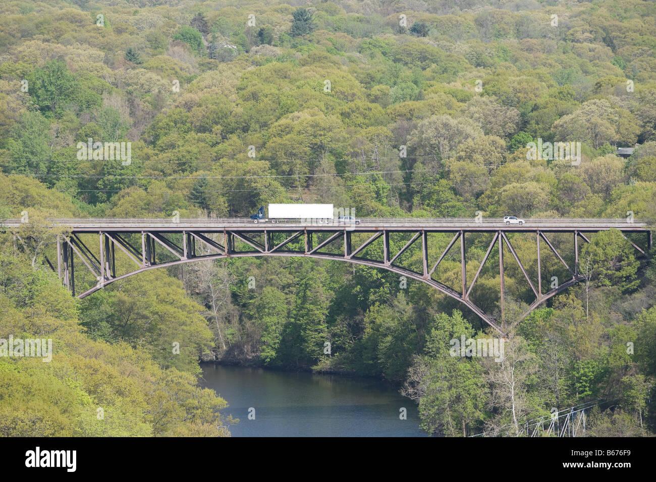 Bridge over hudson river - Stock Image