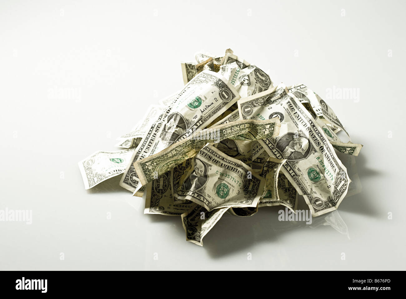 Crumpled banknotes - Stock Image