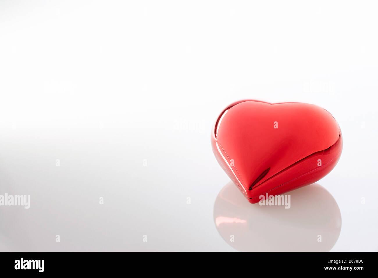 Shiny red heart - Stock Image