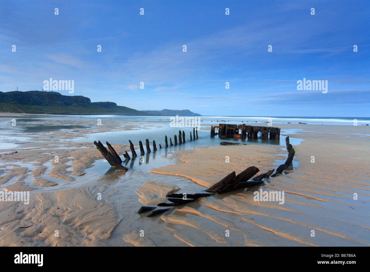 'Machir bay' beach shipwreck at dawn 'Islay' island Scottish Inner Hebrides, Scotland, UK - Stock Image