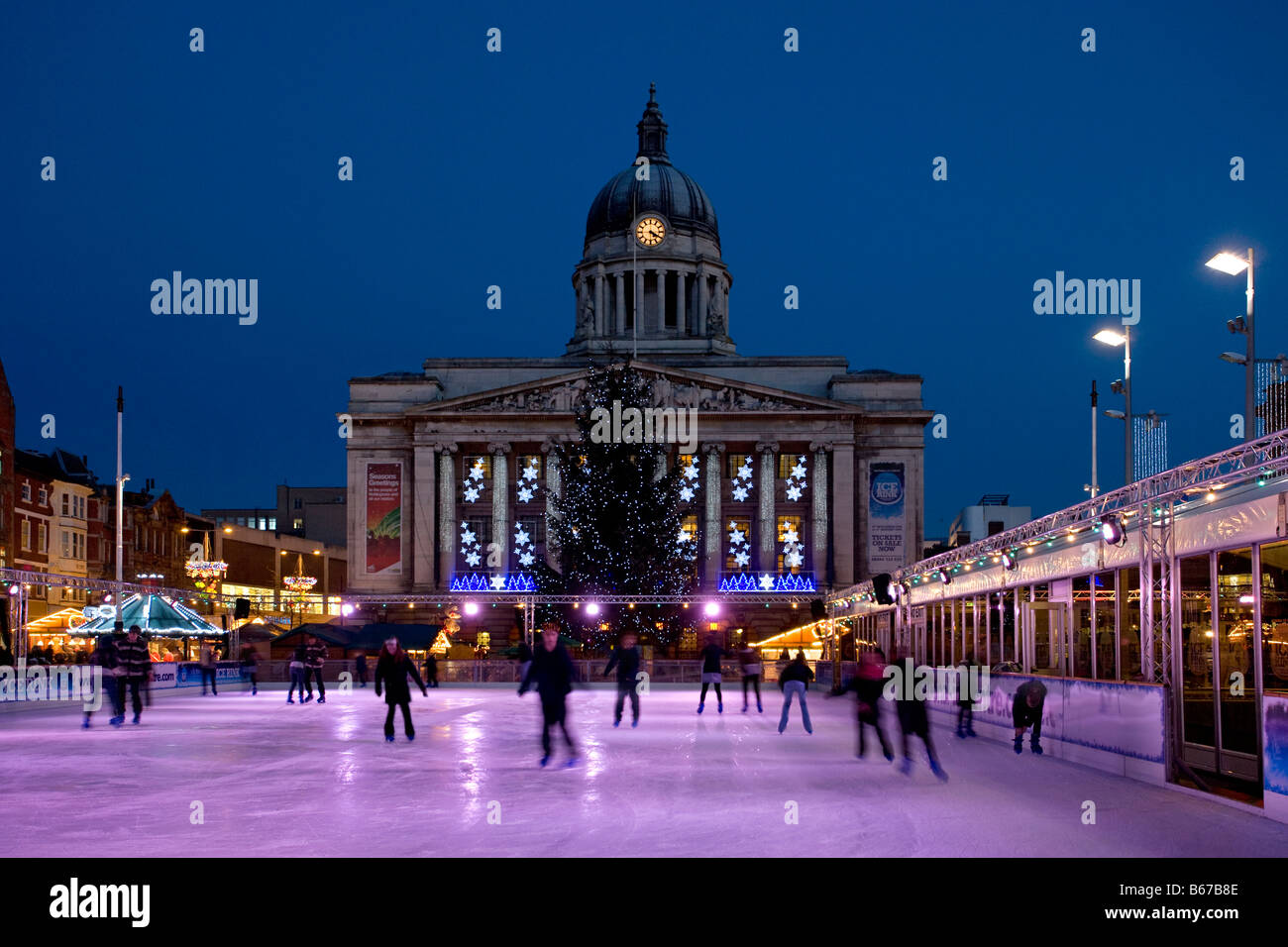 Nottingham town hall with Christmas lights and ice rink,england - Stock Image