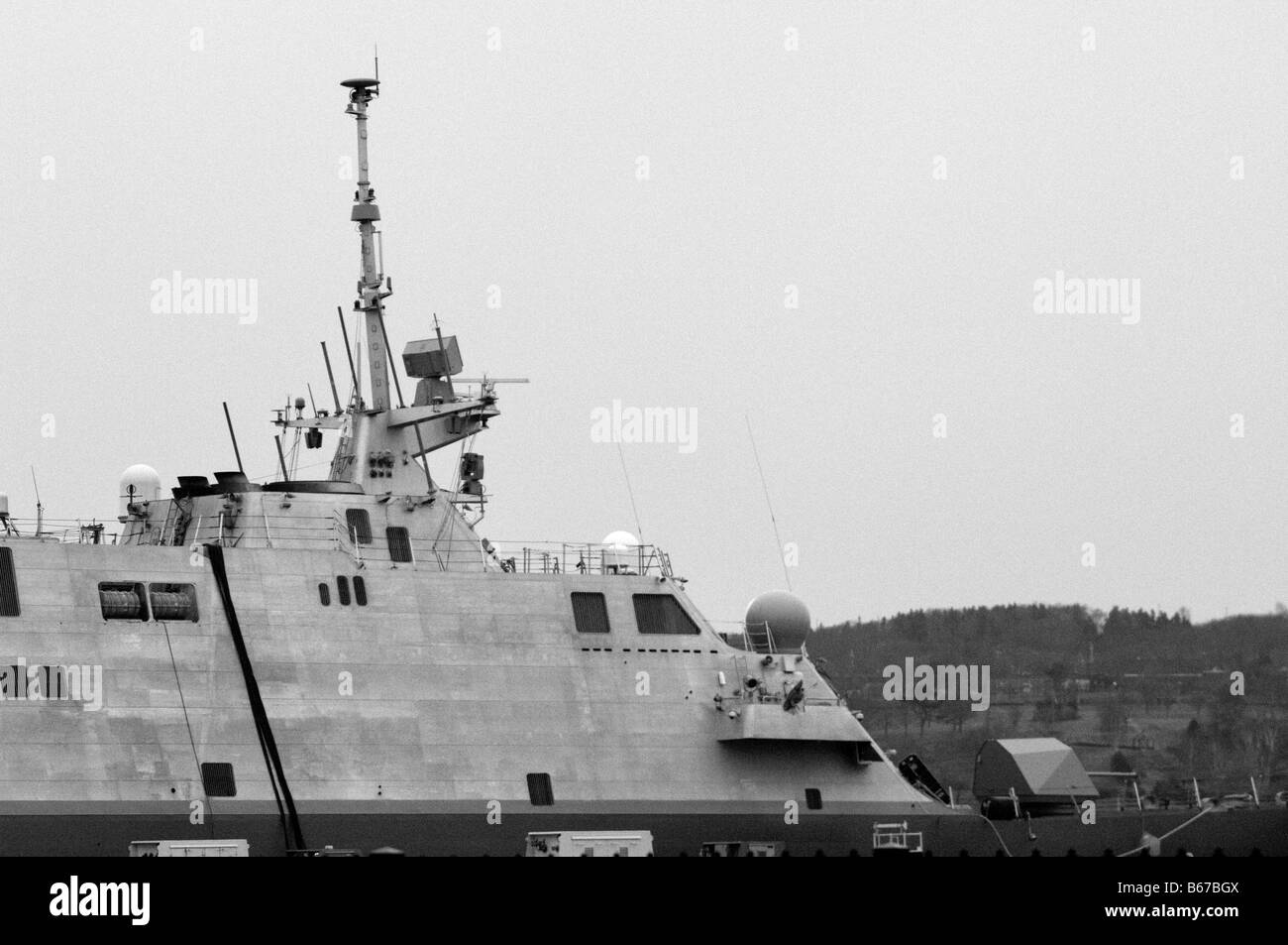 USS Freedom view of the superstructure and main mast, film grain effect. - Stock Image