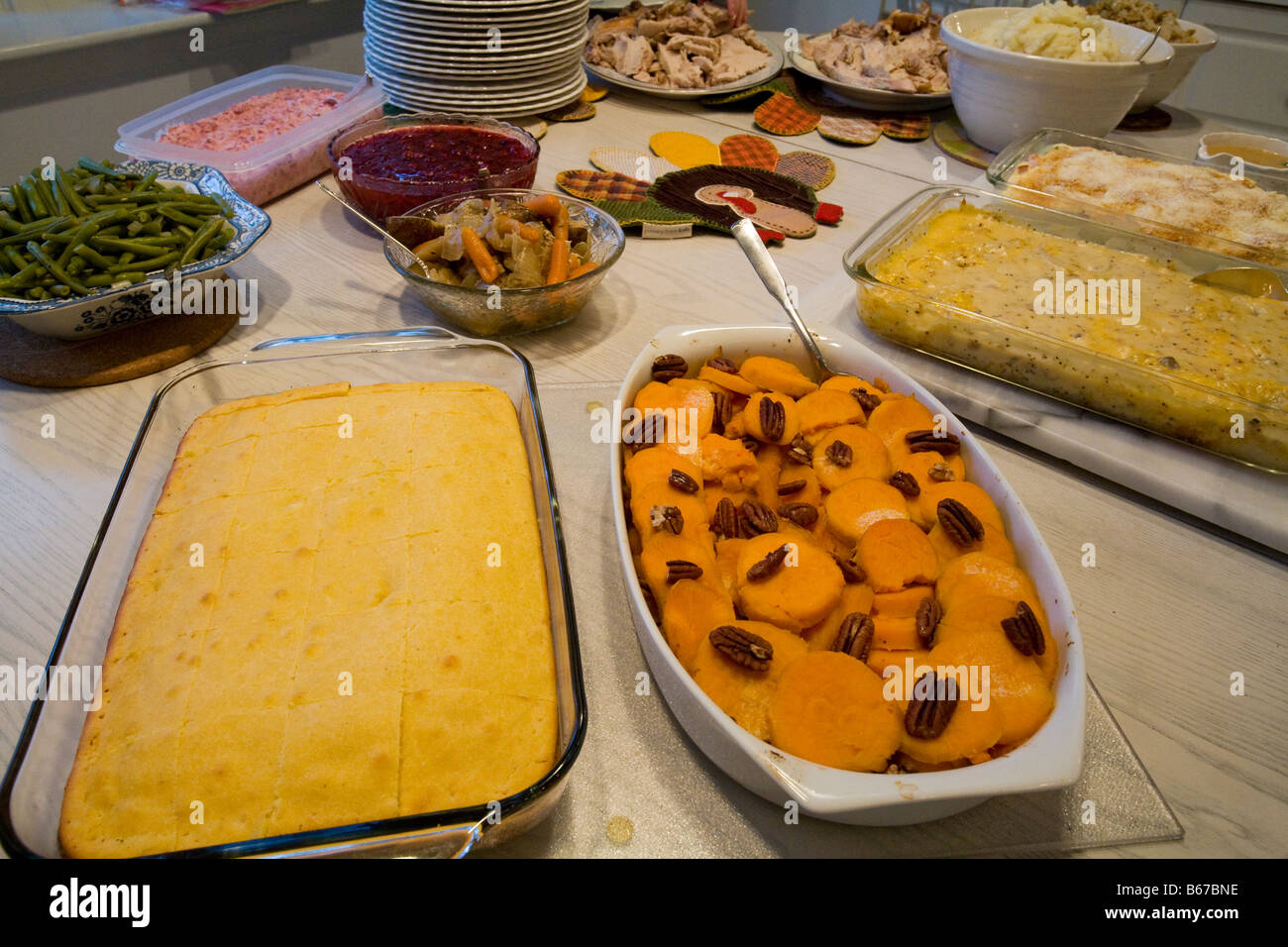 West Bloomfield Michigan Thanksgiving dinner is prepared in a family s kitchen Stock Photo