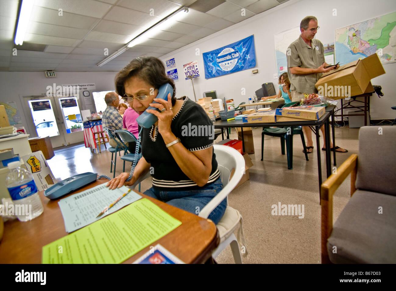 Democratic campaign volunteers in San Juan Capistrano, CA, USA - Stock Image