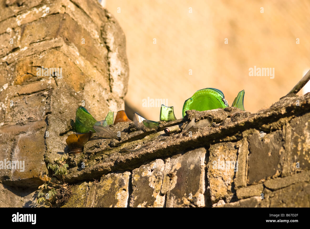 Wall With Glass Shards Stock Photos & Wall With Glass Shards Stock ...