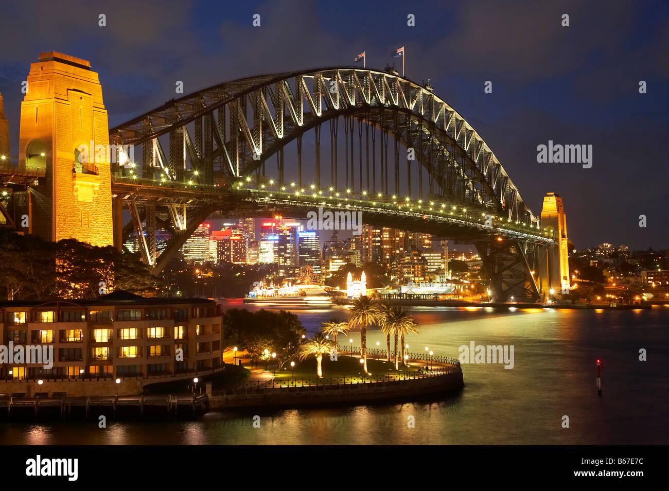 Sydney Harbour Bridge And Park Hyatt Sydney Hotel At Night Sydney
