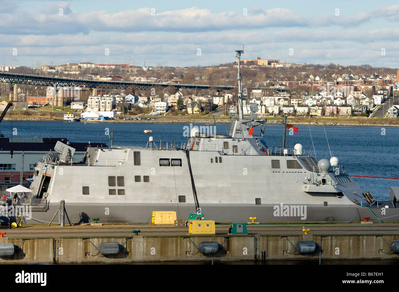 Stealthy architecture of the superstructure of naval vessel. - Stock Image