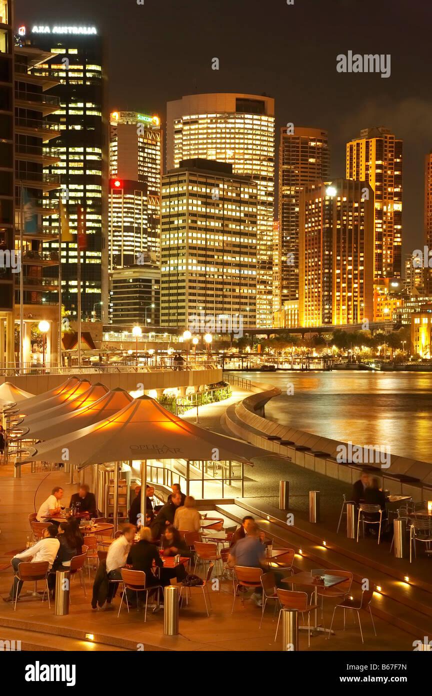 Opera Bar Sydney Cove and CBD at Night Sydney New South Wales Australia - Stock Image