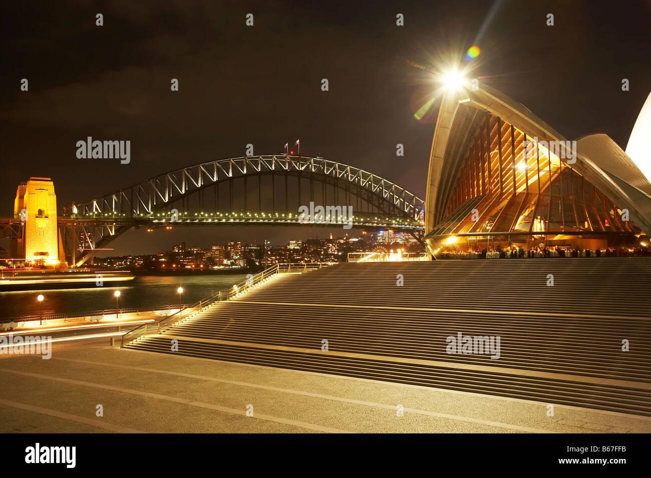 sydney harbour bridge and sydney opera house at night sydney new south B67FFB - 27+ Sydney Opera House Night Photos  Pics