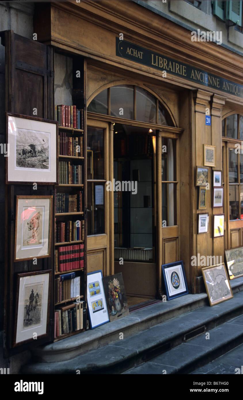 Antique and rare bookshop and print dealer, Grand Rue, old town Geneva, switzerland - Stock Image