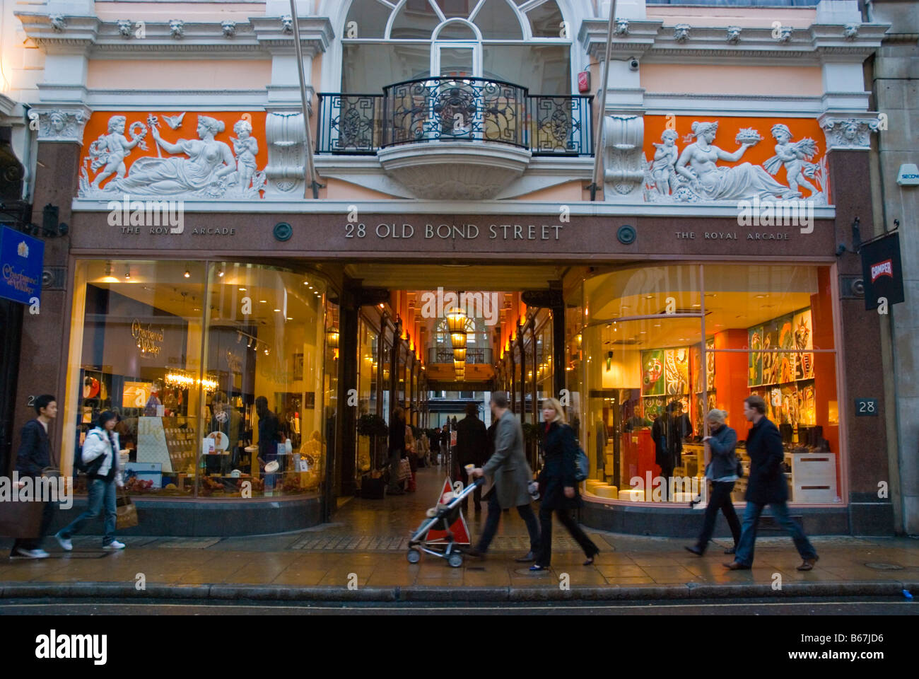 The Royal Arcade shopping centre along Old Bond Street in district of Mayfair in central London England UK - Stock Image