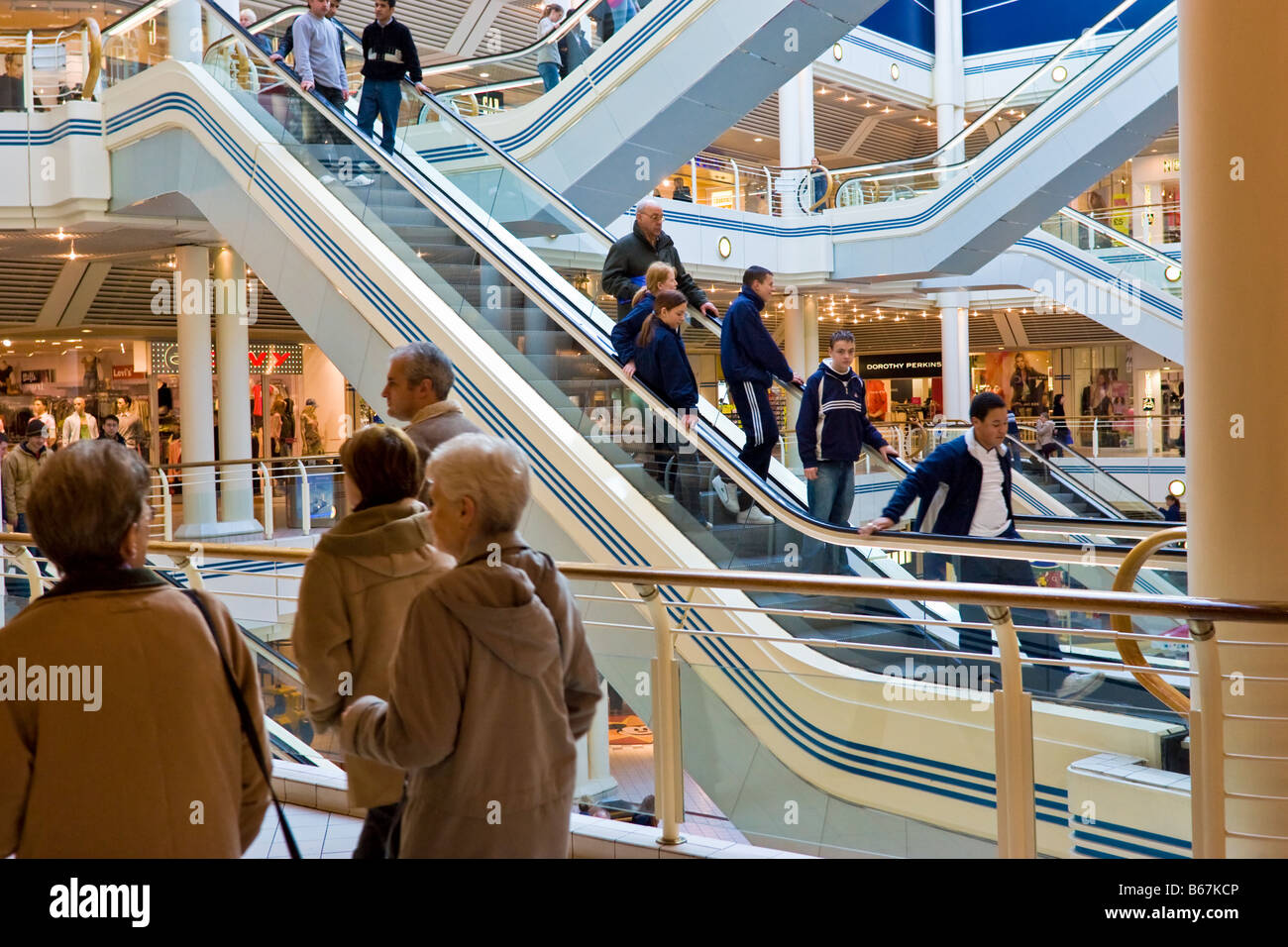 Interior of Princes Quay shopping mall, shopping centre Uk, Hull, East Yorkshire, England - Stock Image