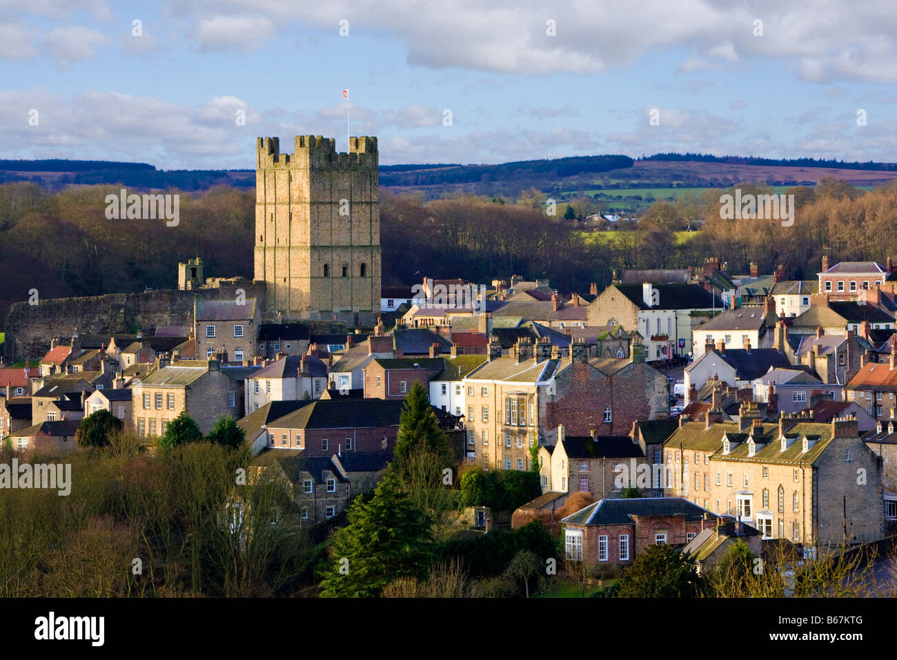 Yorkshire - Richmond castle and town, North Yorkshire, England, UK - Stock Image