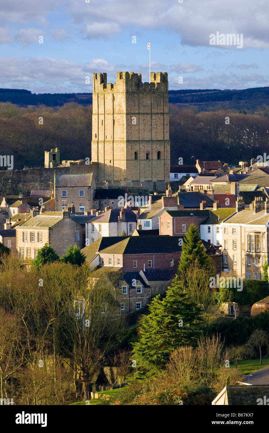 Richmond Castle and town North Yorkshire, England, UK - Stock Image