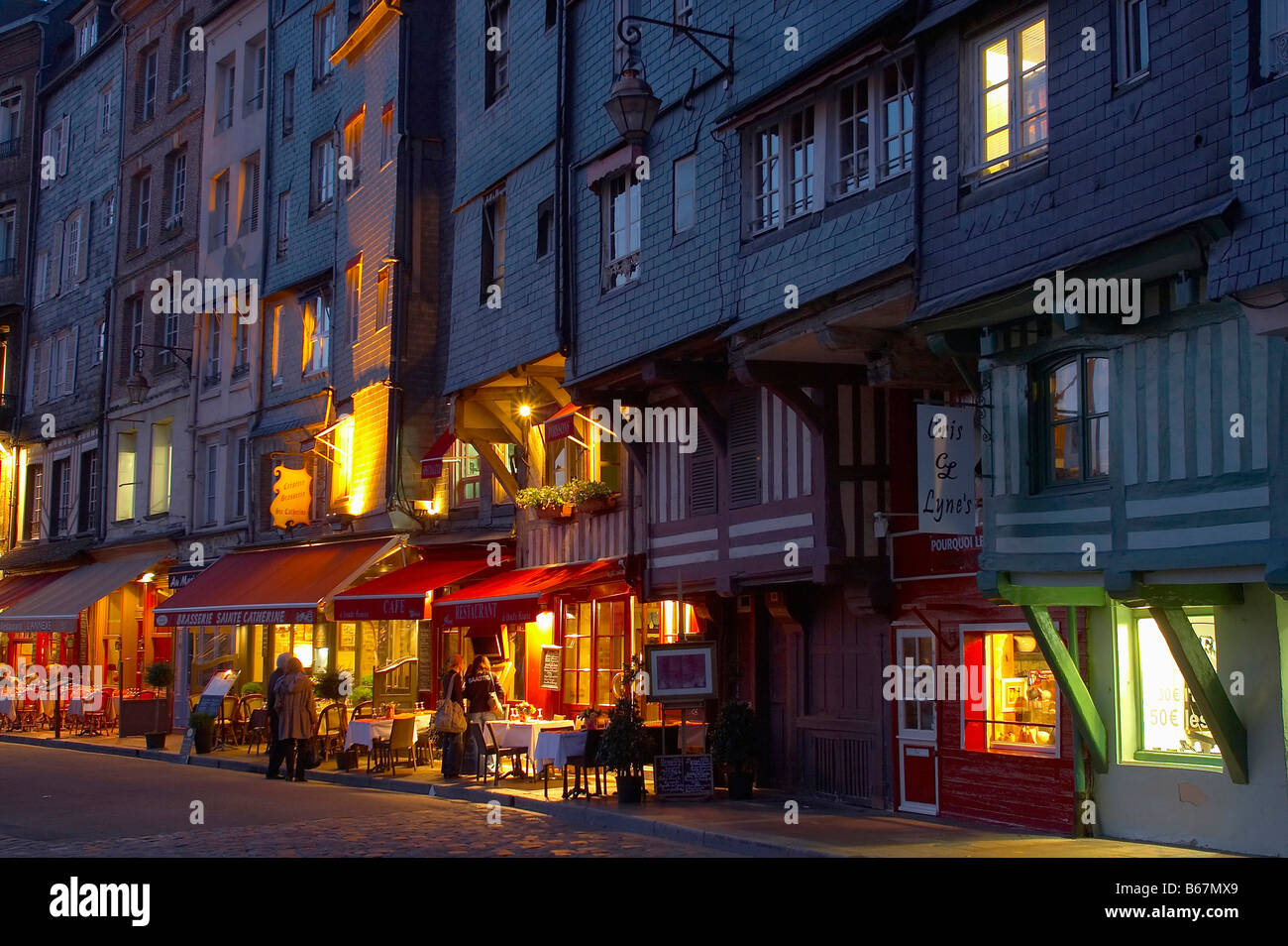 Evening at the harbour of Honfleur, dept. Calvados, Normandie, France, Europe - Stock Image