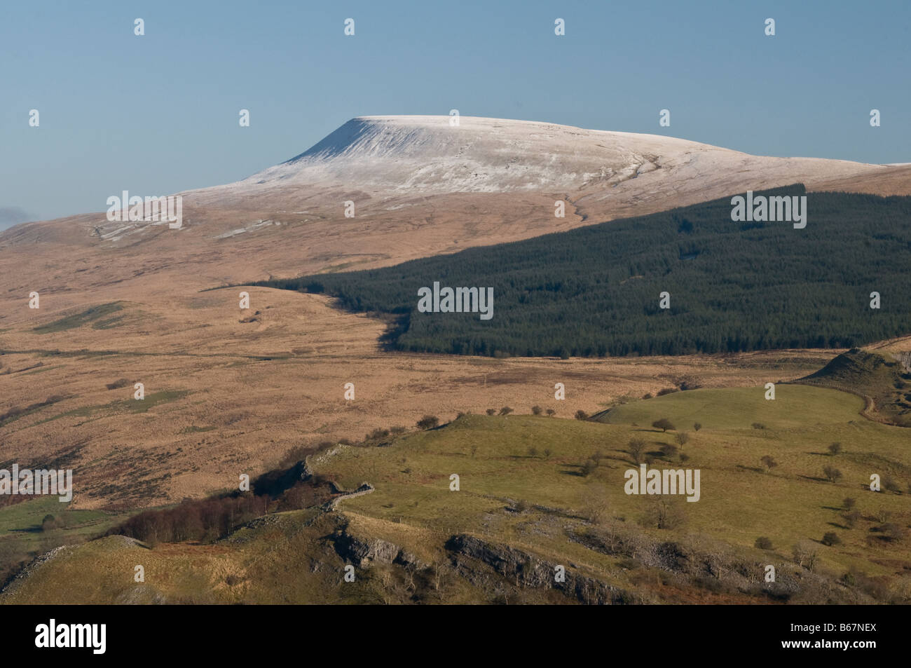 View of Fan Gyhirych Mountain in the Western Brecon Beacons with Snow Stock Photo