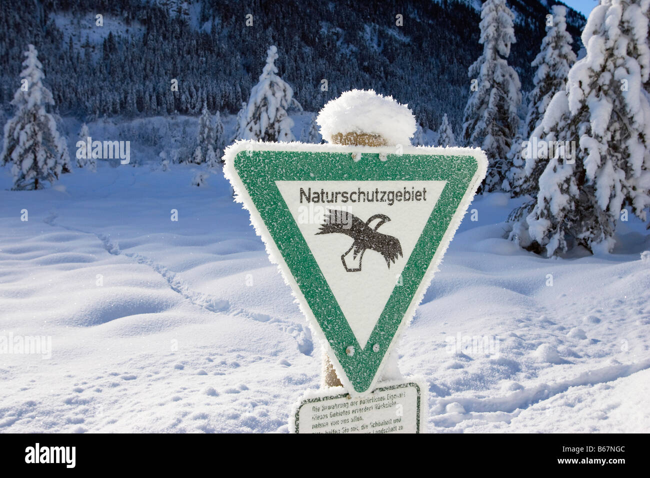 Nature reserve, sign with whitefrost, Upper Bavaria, Germany Stock Photo