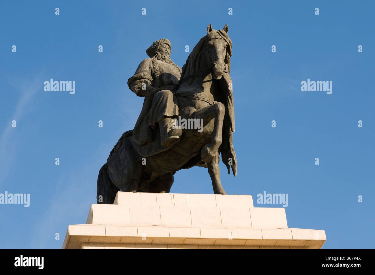 Statue of Genghis Khan at city performing art center Xiwuzhumuqinqi Inner Mongolia China - Stock Image