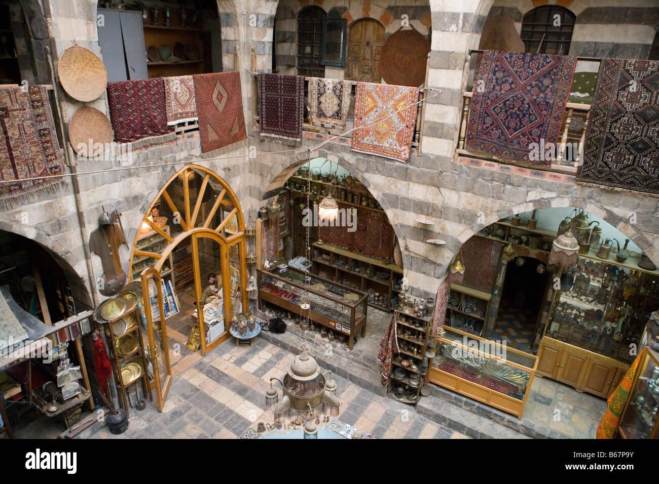 Carpet and Handicrafts Shop, Damascus, Syria, Asia - Stock Image