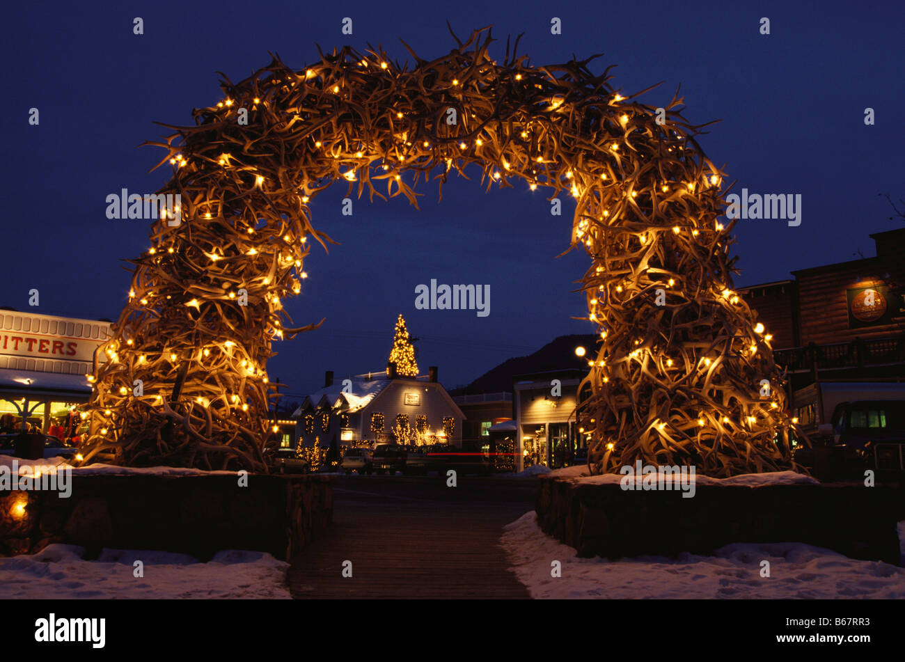 christmas decorations at elk antler arch town square jackson hole wyoming usa