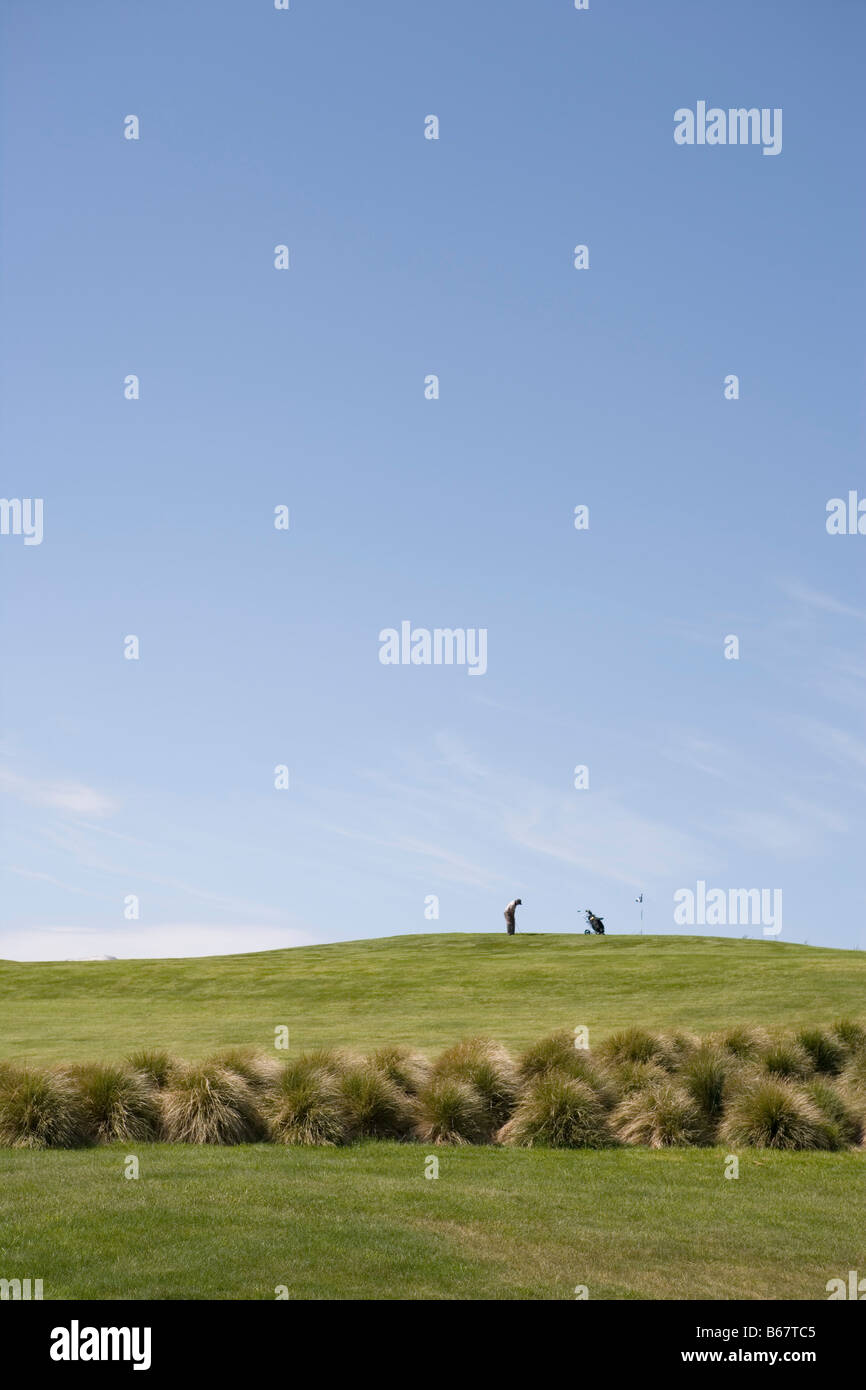 Golfers on Green at Terrace Downs High Country Resort, Near Mt. Hutt, Canterbury, South Island, New Zealand - Stock Image