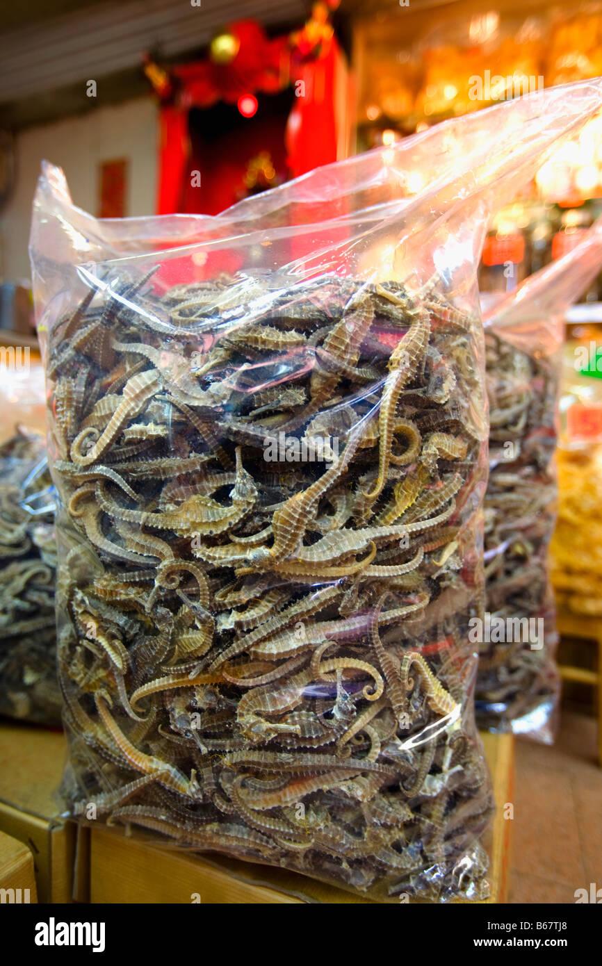Close-up of dried seahorses in a plastic bag for sale, Hong Kong Island, Hong Kong, China Stock Photo