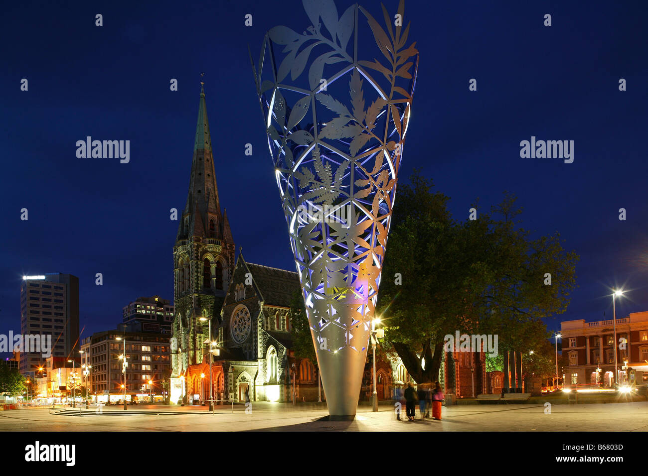 Sculpture titled Chalice by Neil Dawson erected to celebrate 150th anniversary of the city, Christchurch, New Zealand - Stock Image