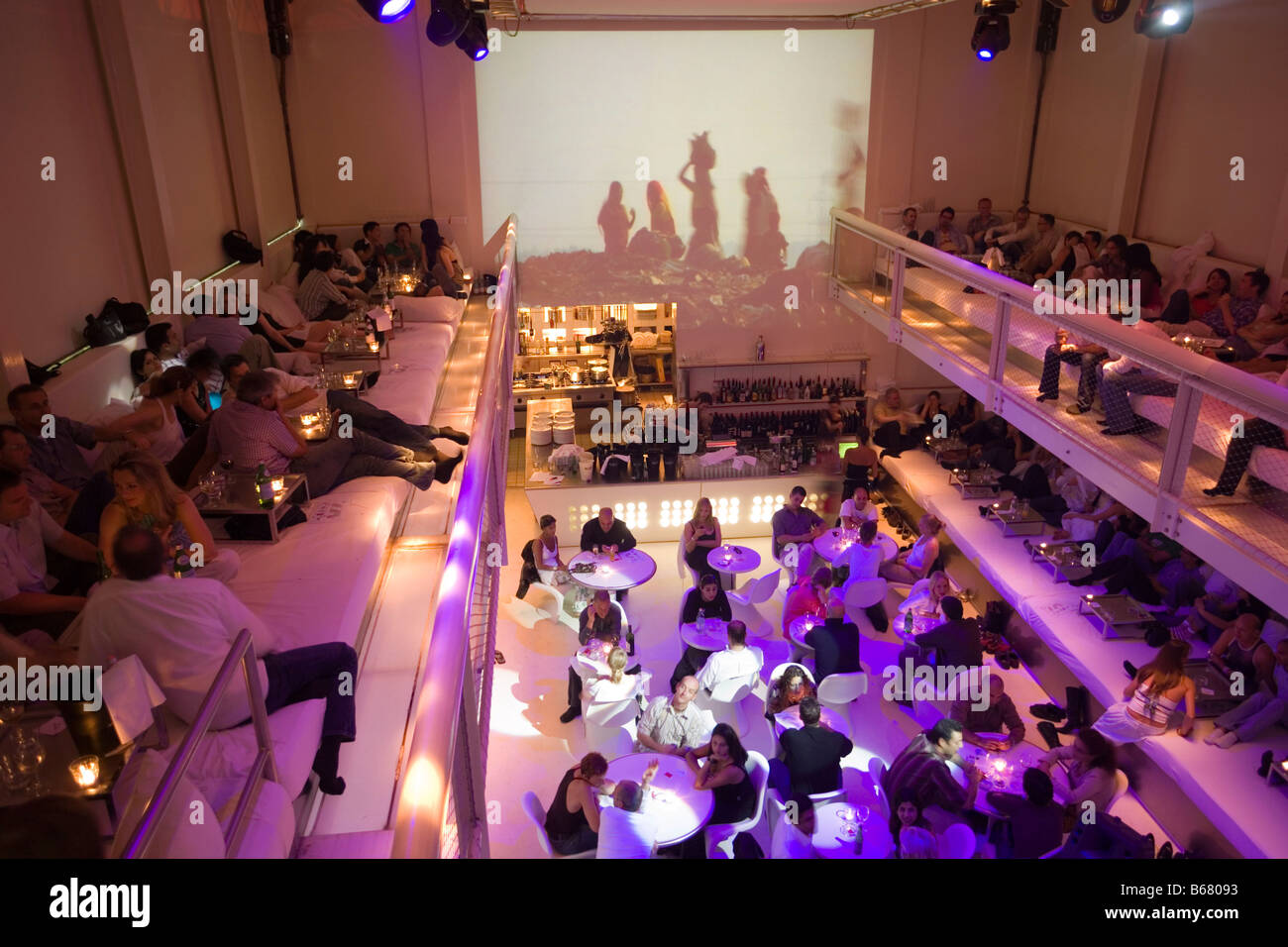 Interior of Supperclub with lots of guests, Amsterdam, The Netherlands - Stock Image