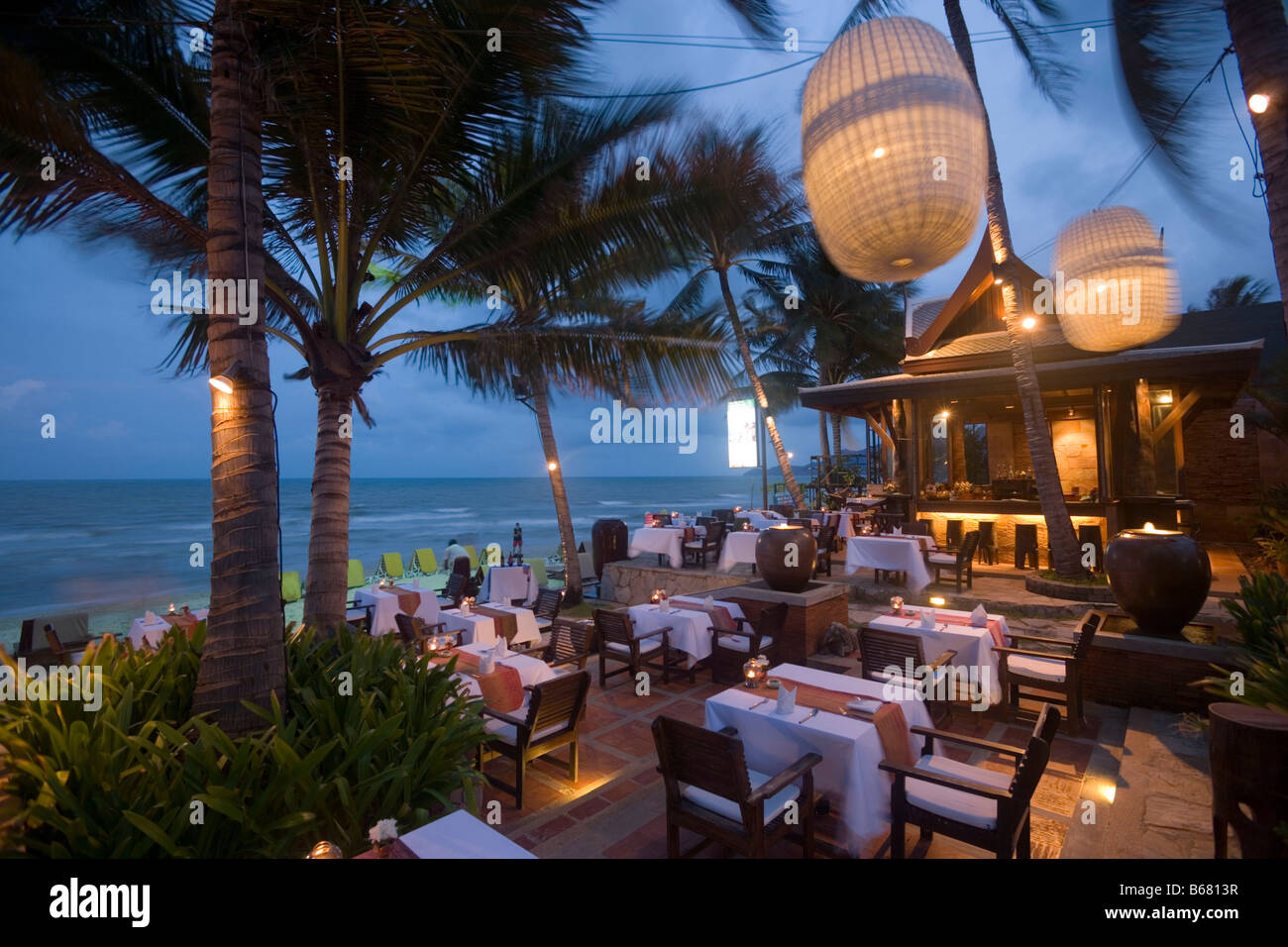 Open Air Terrace Of A Restaurant Chaweng Beach Hat Chaweng South Stock Photo Alamy