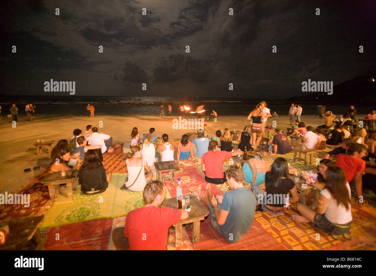 Full Moon Party at beach, Hat Rin Nok, Sunrise Beach, Ko Pha-Ngan, Thailand - Stock Image