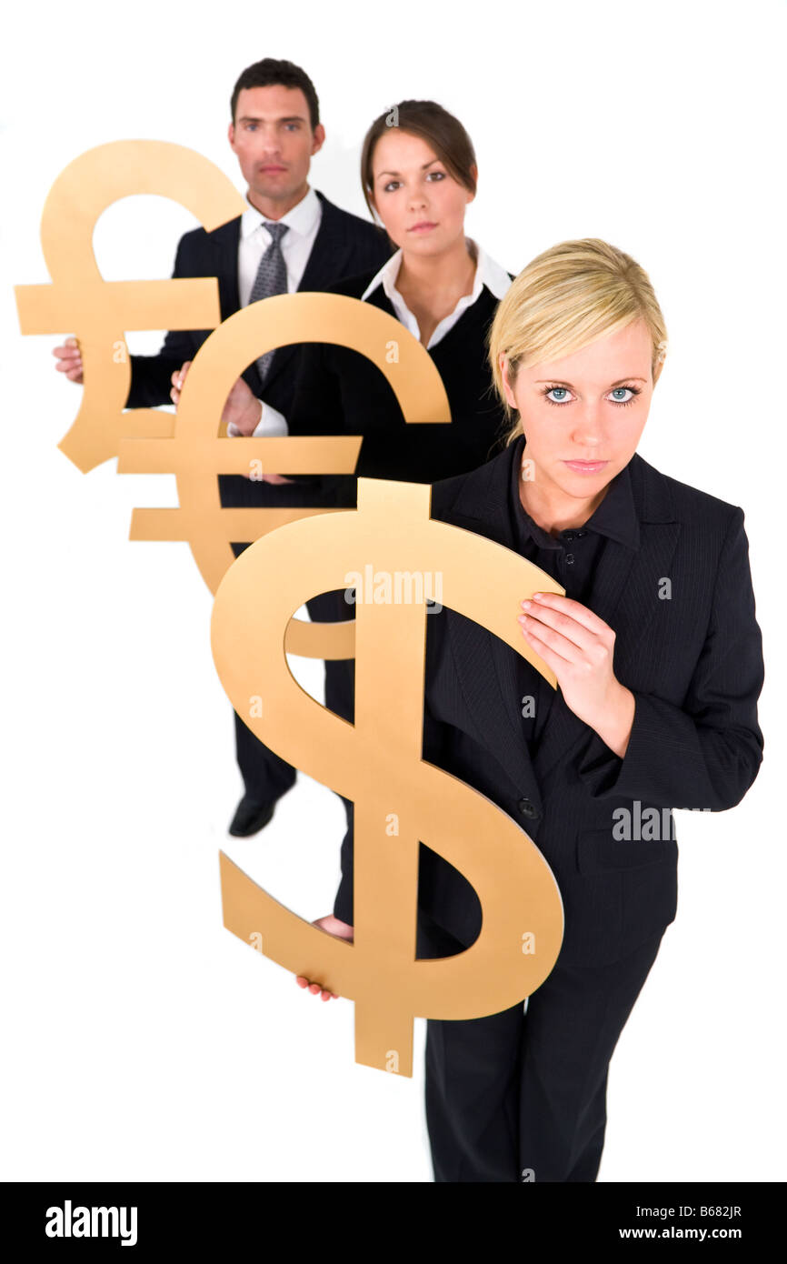 A team of three young executives one man and two women holding currency symbols and looking worried - Stock Image