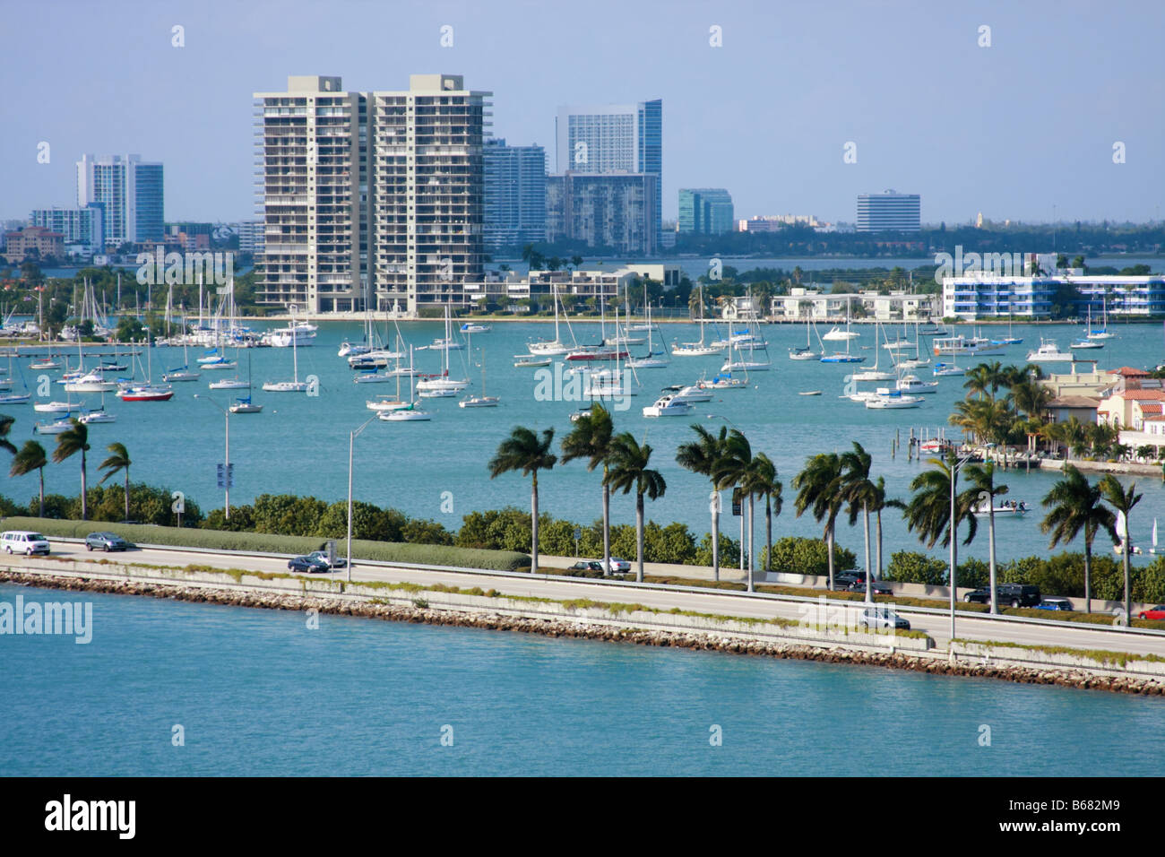 Biscayne Bay full of sailboats in Miami. - Stock Image