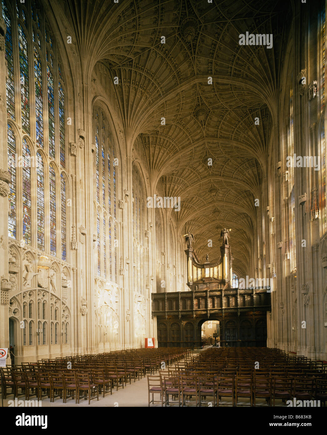 King's College Chapel Cambridge. Interior to east - Stock Image