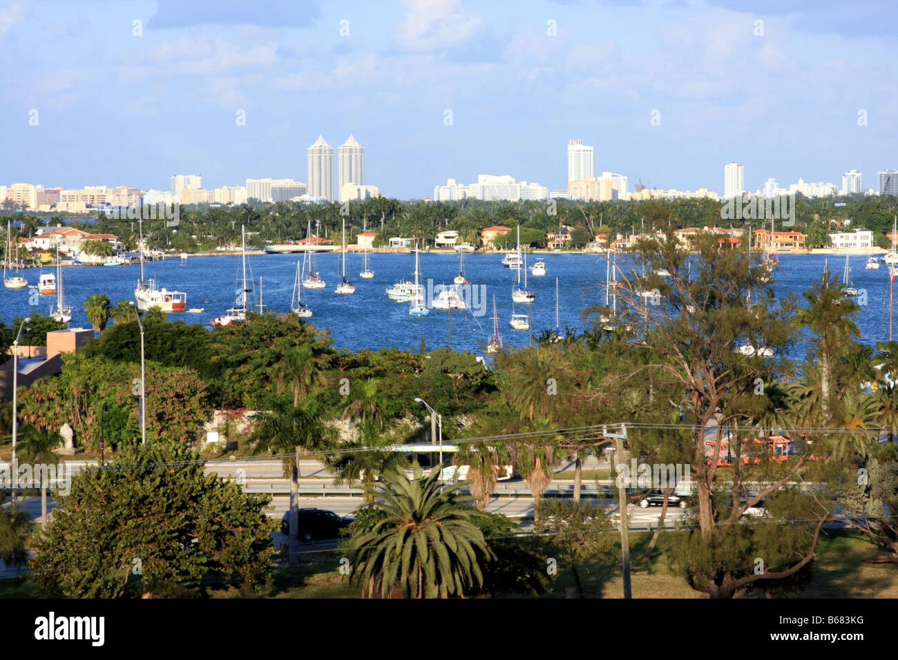 Sailboats in the bay in Miami. - Stock Image