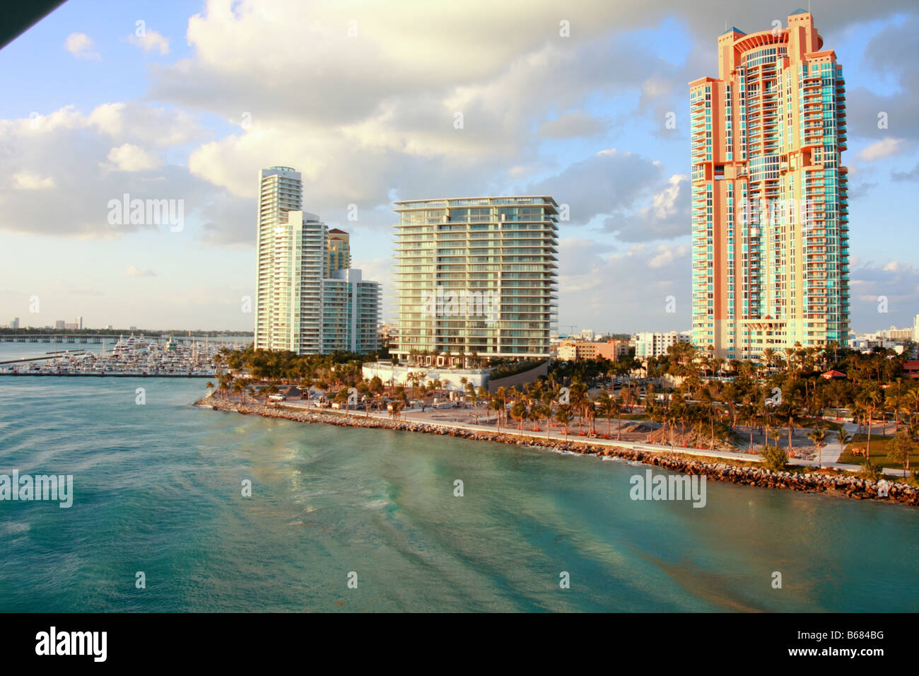 Several condos on Miami Beach. Shown are Portofino Tower, the Murano at Portofino, and Apogee South Beach. - Stock Image