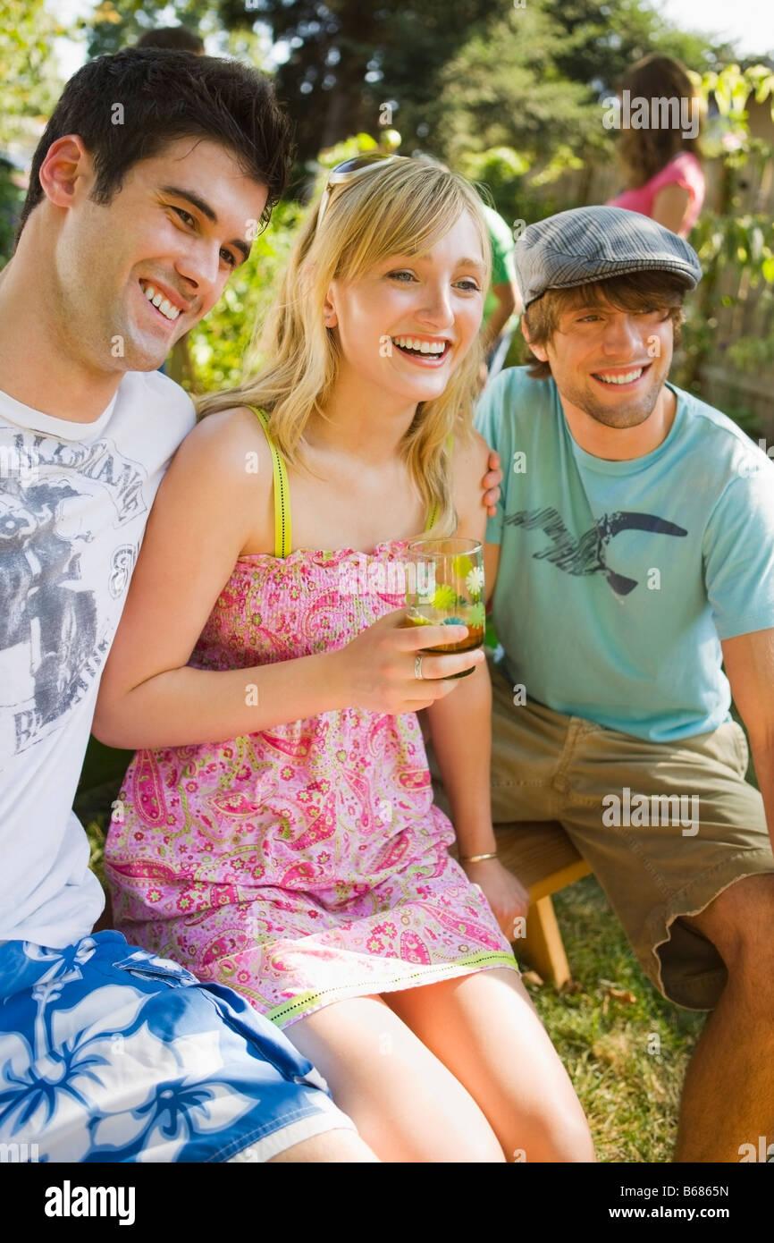 Friends at Backyard Barbeque, Portland, Oregon, USA Stock Photo
